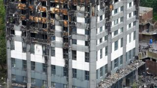 Yanan Grenfell Tower'ın görüntüsü