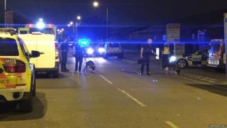Police officers at the scene in Barking