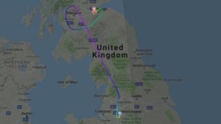 Flightmap of the diverted flight