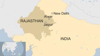 Map shows the location of Alwar, a village in Rajasthan state, India