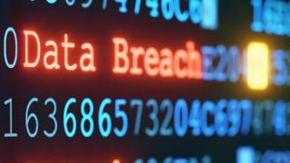 Sign with the words data breach