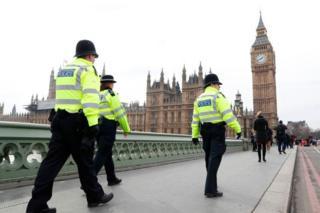 Policías ante el Parlamento británico, Londres.