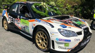 The car driven by Manus Kelly in his Donegal Rally victory led the funeral procession