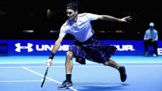 Roger Federer wearing kilt