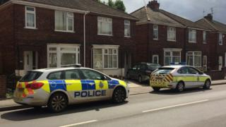 Police at scene of Gainsborough murder