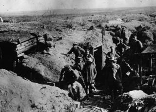 German troops outside their dug outs on the Somme