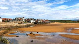 beach and Ship Inn at Elie in Fife