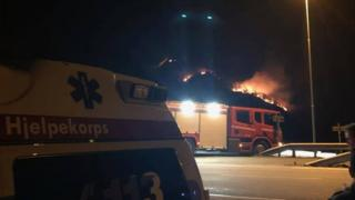 A fire is seen burning in Norway's Rogaland county