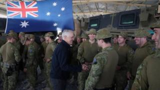 Australian PM Malcolm Turnbull meets troops stationed in Afghanistan last month