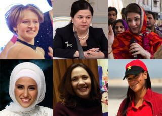 Hijas de los jefes de Estado de Rusia, Tajikistán, Pakistán, Angola, Cuba y Turquía.