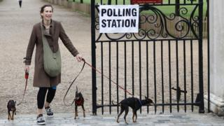 A woman with dogs at a polling station
