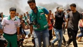 Hundreds of people have been injured, according to Palestinian officials