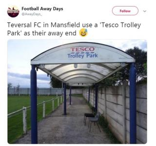 """Teversal FC's now famous """"Tesco Trolley"""" stand"""