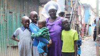 Celestine Adhiambo with her kids