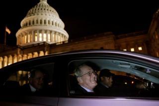 US Senator Lamar Alexander exits the Trump impeachment trial in Washington.