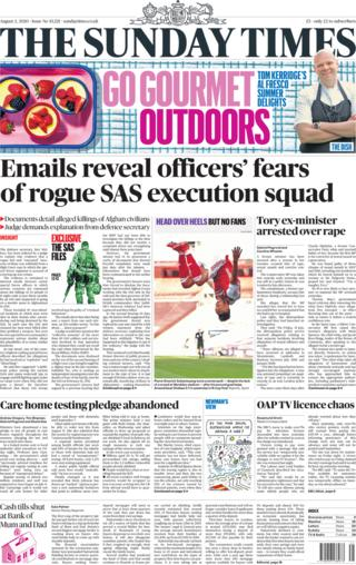 The Sunday Times front page 2 August