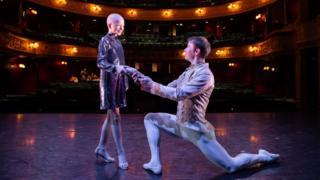 Lily Douglas with Scottish Ballet Principal dancer Christopher Harrison at Theatre Royal Glasgow. Credit Sally Jubb..jpg