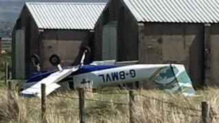 The light aircraft crash at Caernarfon Airport