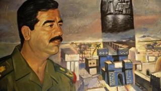 addam Hussein in a mural