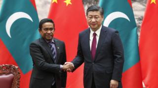 President Xi Jinping meeting with Maldivian President Maumoon Abdul Gayoom on 07th December 2017 in Beijing, China