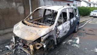 Burnt out car on Carlingford Street