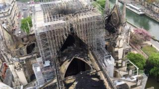 Notre-dame cathedral after it was devastated by fire