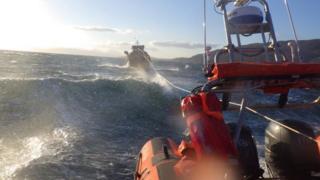 Kyle lifeboat towing the Ptarmigan