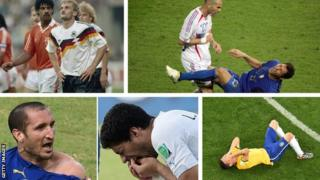 Rudi Voller and Fank Rijkaard clash, Zinedine Zidane headbutts Marco Materazzi, Giorgio Chiellini reacts to a bite from Luis Suarez, Brazil react to their 7-1 humiliation by Germany