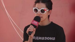 Nadya Tolokónnikova en entrevista con BBC Mundo. Foto: Natalia Guerrero.