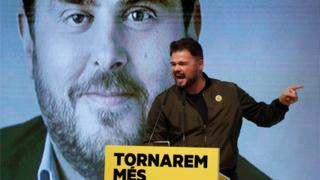 Candidate of Catalan pro-independence ERC party for Lower Chamber of Spanish Parliament Gabriel Rufian delivers a speech during an ERC rally at L'Hospitalet de Llobregat, in Barcelona, Spain, 07 November 2019.