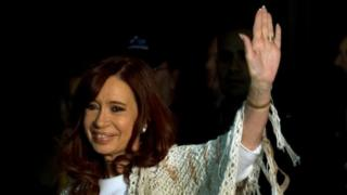 Cristina Fernandez de Kirchner waves to her supporters in Buenos Aires. Photo: April 2016