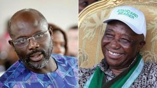 Labada nin ee ku loolamaya doorasahda madaxtinimada Liberia midig: Joseph Boakai iyo bidix: George Weah