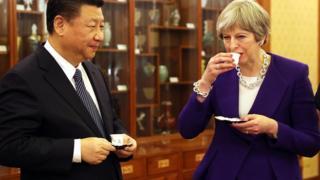 特里莎·梅首相与习近平主席一起茶叙。