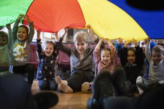 Nicola Sturgeon joins in with playtime at a nursery in Gilmerton, Edinburgh