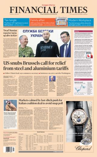 Financial Times front page - 31/05/18