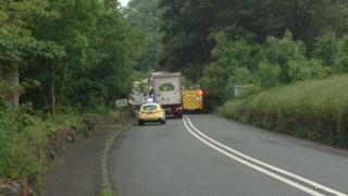 Crash scene near Pentrefoelas on 16 June