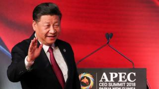 President of China Xi Jinping arrives for the APEC CEO Summit 2018 at Port Moresby, Papua New Guinea,