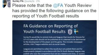 Tweet from Surrey FA