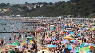 Crowds flocked to Bournemouth beach in Dorset