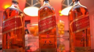 Johnnie Walker whisky bottles