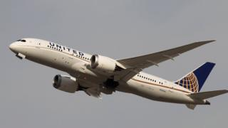 A United Airlines 787 Dreamliner plane in the sky