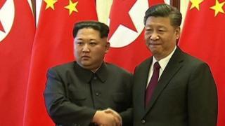 Kim Jong-un and Xi Jinping in Beijing