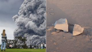 "The ash plume erupting from Hawaii's Mount Kilauea, and some ""ballistic blocks"" it has spewed"