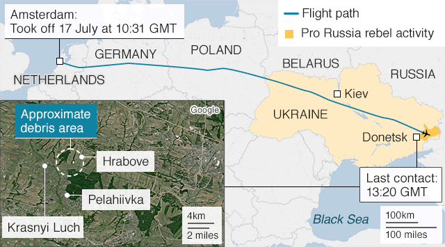App version of map showing last flight of MH17
