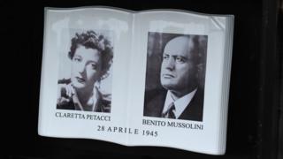 Placa conmemorativa en Mezzegra, Italia