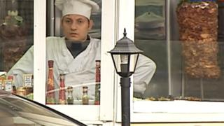 Still from TV report on kebab shops in Russia