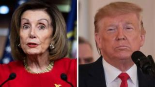 Picha kushoto ni Spika Nancy Pelosi na Kulia ni Rais Donald Trump