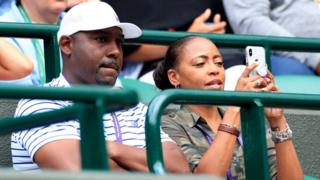 Father and Coach of Cori Gauff, Corey Gauff with is wife Candi on day one of the Wimbledon Championships at the All England Lawn Tennis and Croquet Club, Wimbledon.