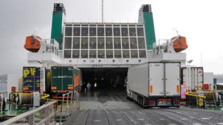 Lorries getting onto a Ro-Ro ferry
