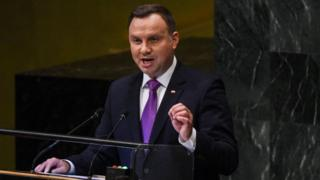Andrzej Duda speaking at UN General Assembly